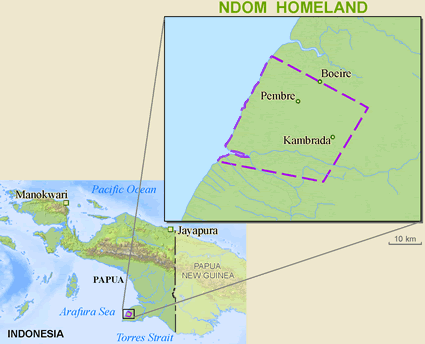 Map of Ndom in Indonesia