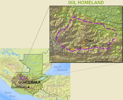 Map of Ixil, Nebaj in Guatemala