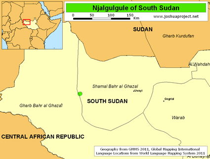 Map of Njalgulgule in South Sudan