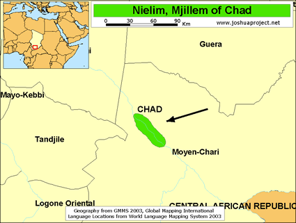 Map of Nielim, Mjillem in Chad