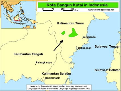 Map of Kota Bangun Kutai in Indonesia
