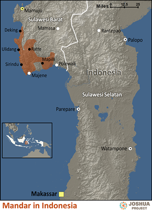 Map of Mandar in Indonesia