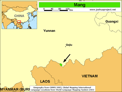 Map of Mang in China