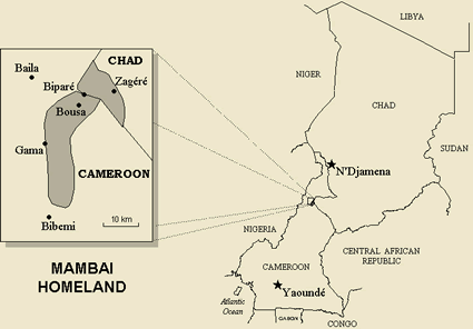 Map of Mangbai in Cameroon