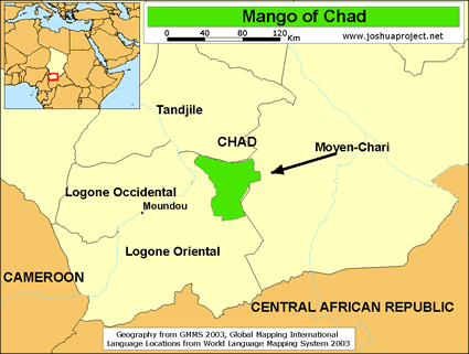 Map of Mango in Chad