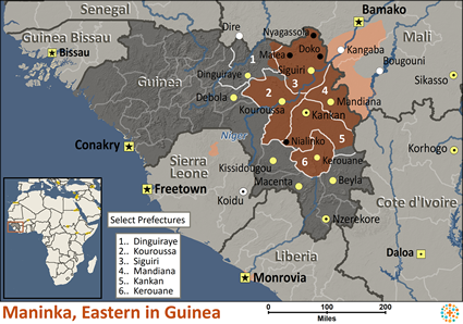 Map of Maninka, Eastern in Guinea