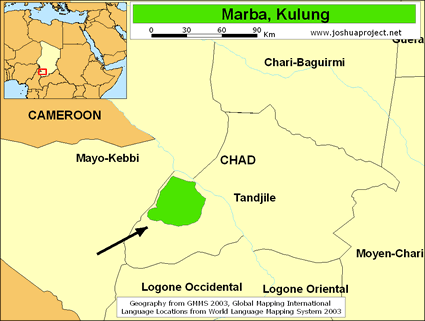 Map of Marba, Kulung in Chad