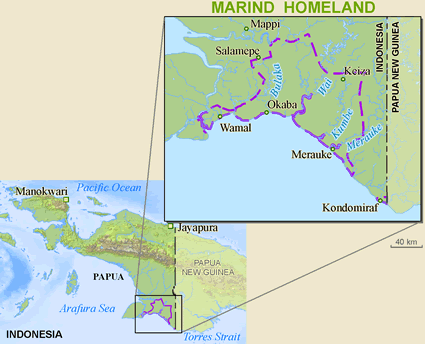 Map of Marind, Southeast Marind in Indonesia