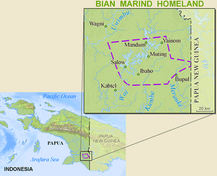 Map of Marind, Bian in Indonesia