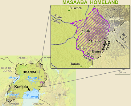 Map of Masaba, Gisu in Kenya