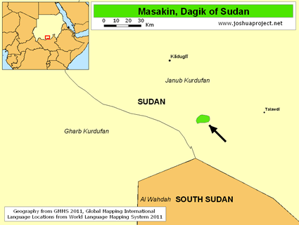 Map of Masakin, Dagik in Sudan