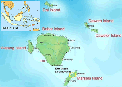 Map of Masela, East in Indonesia