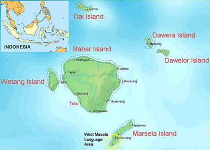 Map of Masela, West in Indonesia