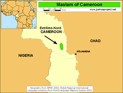 Map of Kotoko, Maslam in Cameroon