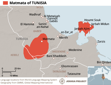 Map of Amazigh, Matmata in Tunisia
