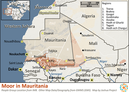 Map of Moor in Mauritania