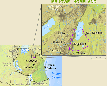 Map of Mbugwe in Tanzania