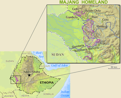 Map of Majang in Ethiopia