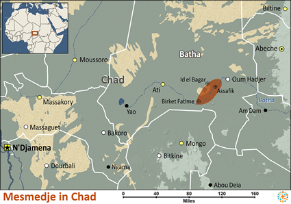Map of Mesmedje in Chad