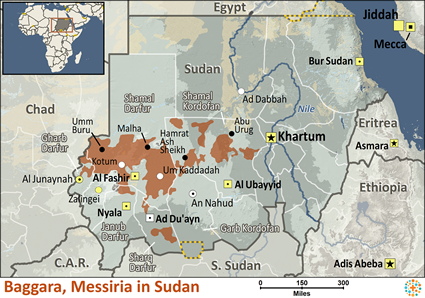 Map of Baggara, Messiria in Sudan