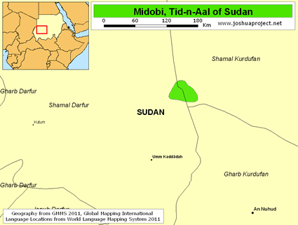Map of Midobi, Tid-n-Aal in Sudan