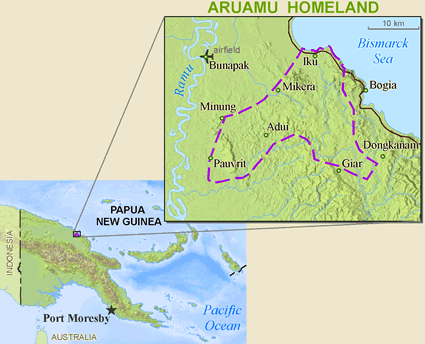 Map of Mikarew, Ariawiai in Papua New Guinea