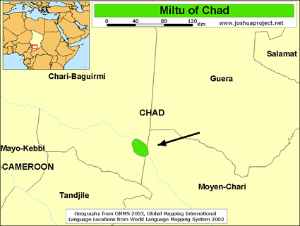 Map of Miltu in Chad
