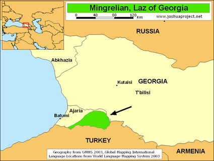 Map of Laz, Lazuri in Georgia