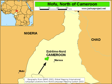 Map of Mofu, North in Cameroon