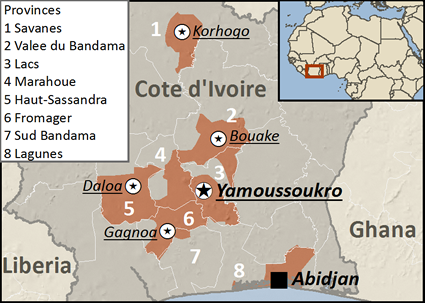 Map of Mossi in Côte d'Ivoire