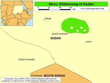 Map of Moro, Dhimorong in Sudan