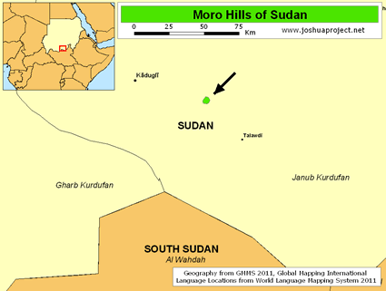Map of Moro Hills in Sudan