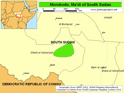 Map of Morokodo, Ma'di in South Sudan