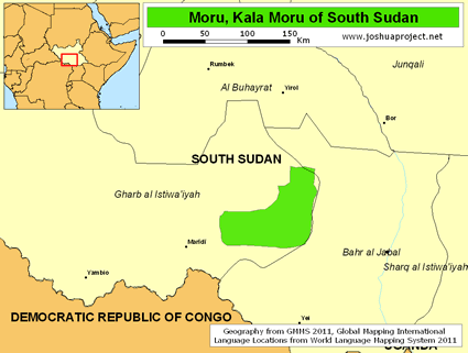 Map of Moru, Kala Moru in South Sudan