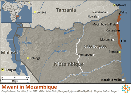Map of Mwani in Mozambique