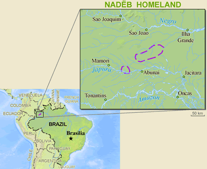 Map of Nadeb in Brazil