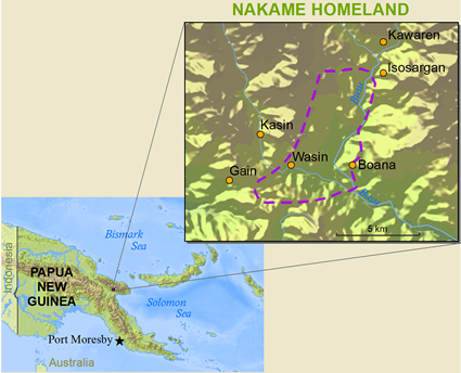 Map of Nakama in Papua New Guinea