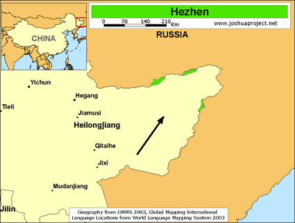 Map of Hezhen in China