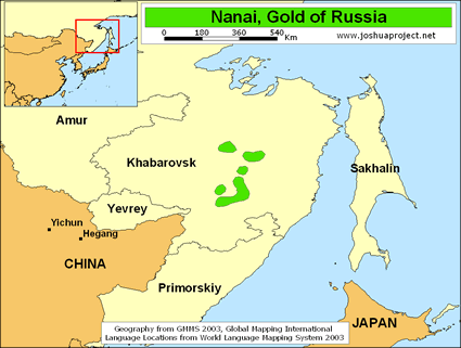 Map of Nanai, Gold in Russia