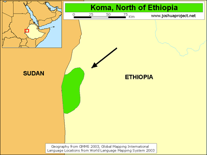 Map of Gwama in Ethiopia