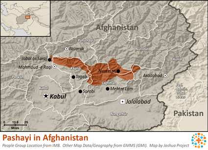 Map of Pashayi, Northwest in Afghanistan