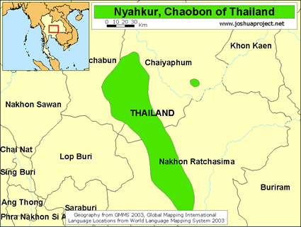 Map of Nyahkur in Thailand