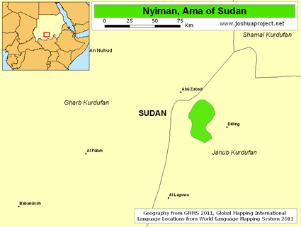 Map of Nyiman, Ama in Sudan
