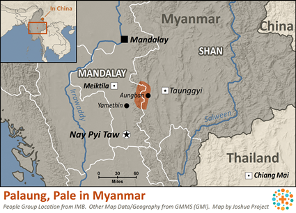 Map of Palaung, Pale in Myanmar (Burma)