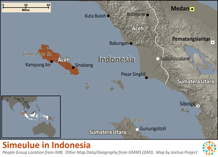 Map of Simeulue in Indonesia