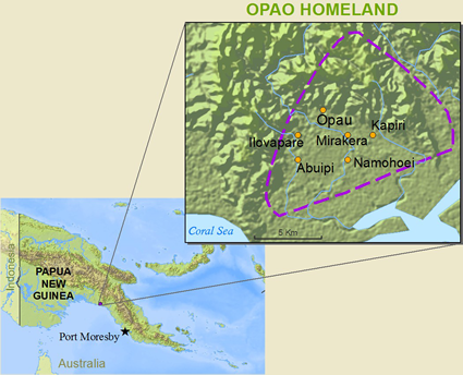 Map of Opao in Papua New Guinea