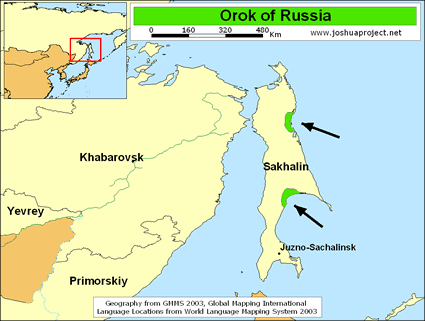 Map of Orok in Russia