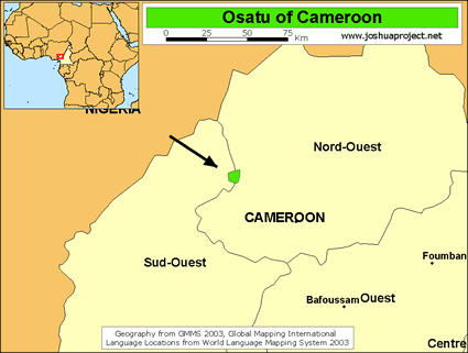 Map of Osatu in Cameroon