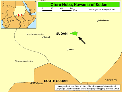 Map of Otoro Nuba, Kawama in Sudan