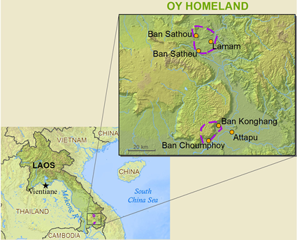 Map of Oy in Laos